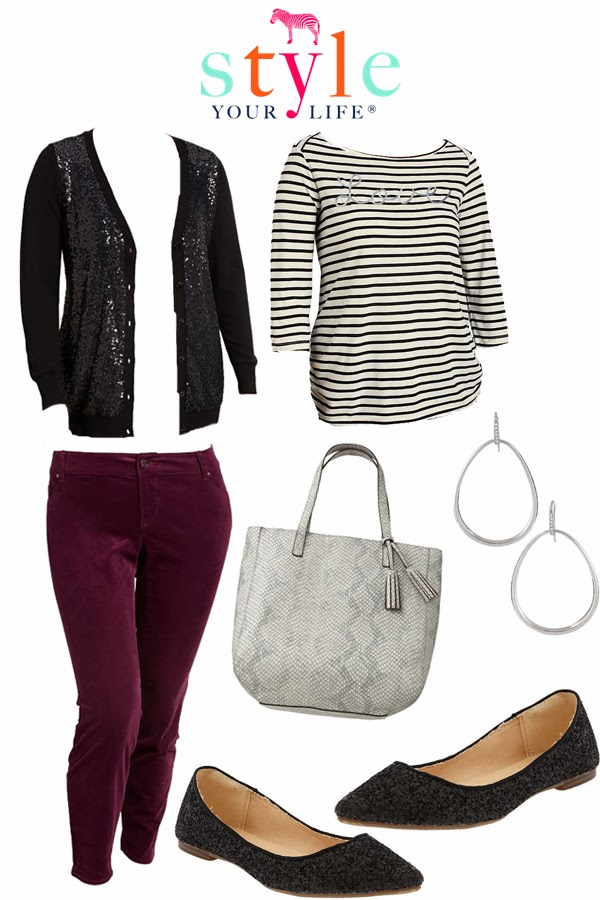 Happy Birthday Laurie- Merlot and Sparkle Plus Size Outfit