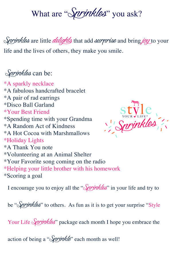 Style Your Life Sprinkles Tween/ Teen Subscription service.