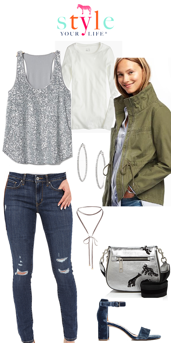 Cargo Jacket with Sequins